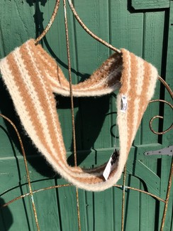 Brown & white infinity scarf