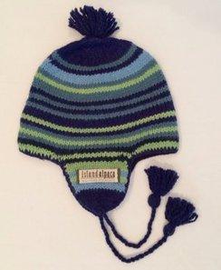 100% Alpaca Youth Striped Flap Hat