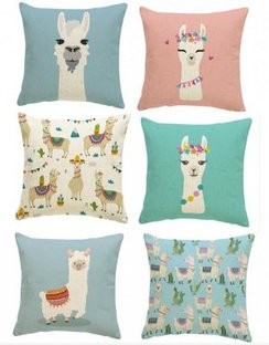 Whimsical Alpaca Pillow Case