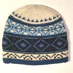 100% Alpaca X-Diamond Blue Beanie