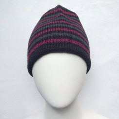 100% Alpaca Merlot Striped Hat