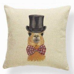 Novelty Alpaca image, Jute-Style Pillow