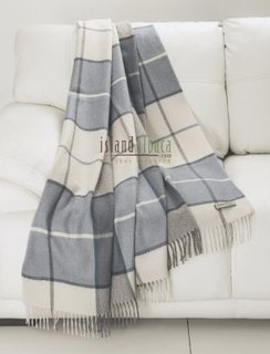 100% Alpaca Blue Plaid Baby Alpaca Throw