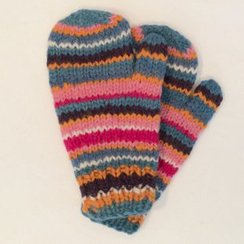 100% Alpaca Striped Mittens
