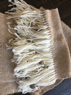 Hand Woven Infinity scarf w/fringe