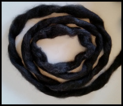 Black Alpaca Roving 5 oz. FREE SHIPPING