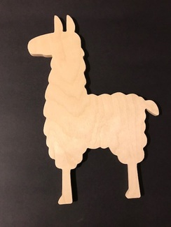 Wooden Cut Out Llama - Unfinished