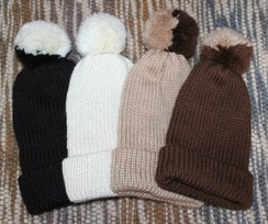 Handmade Suri Alpaca Hat with Pom Pom