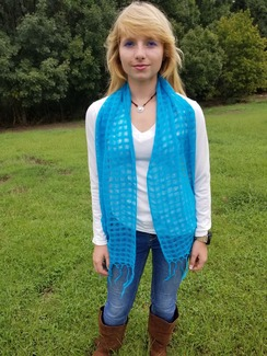 Blue tile weave scarf with fringe