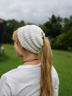 Alpaca crocheted back pony tail beanie