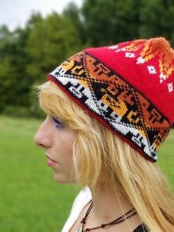 Alpaca red beanie hat