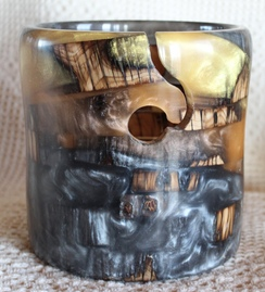 Wood and Resin yarn bowls