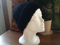 Black machine knit hat