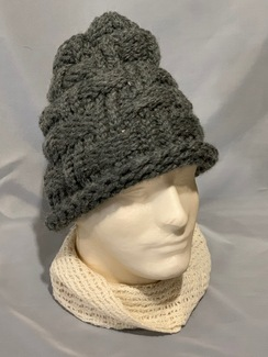 Knitted Alpaca Basket Weave Hat 1