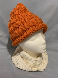 Knitted Alpaca Basket Weave Hat 3