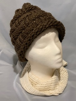 Knitted Alpaca Basket Weave Hat 4