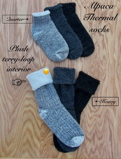 SOCKS: 75% Alpaca THERMAL: Quarter