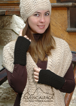 Photo of Scallop Lace Alpaca Fingerless Gloves