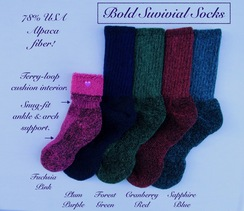 Photo of SOCKS: Bold SURVIVAL  78% alpaca