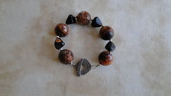 Fire Agate Brown Bead Bracelet