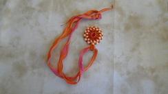 Swarovski Pendant & Hand Dyed Ribbon 26