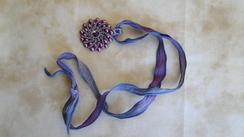 Swarovski Pendant & Hand Dyed Ribbon 25