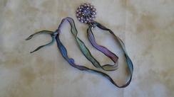 Swarovski Pendant & Hand Dyed Ribbon 24