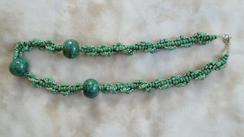 3 Focal Beads on Green Spiral Necklace