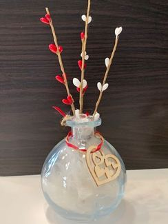 Floating Alpaca Fiber Valentine Bottle