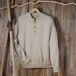 MEN'S BUTTON ALPACA CREW NECK