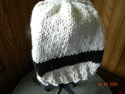 Photo of White with black stripe Alpaca hat