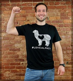 T-SHIRTS: # LOVE ALPACA  90%-100% cotton