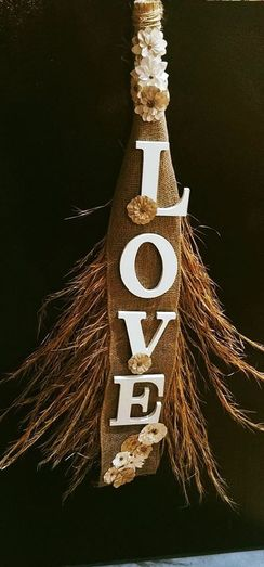 Photo of Decorative Broom with Wooden Letters