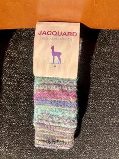 Socks- Alpaca Jacquard Sock- Teal Pink