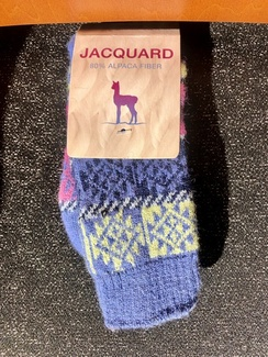 Socks- Alpaca Jacquard Sock-Blues/Pink