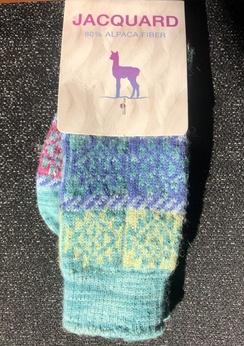 Photo of Socks- Alpaca Jacquard Sock- Turquoise