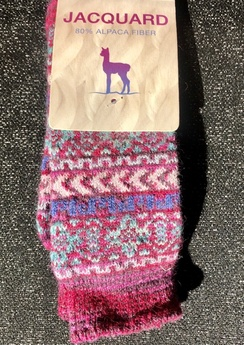 Socks- Alpaca Jacquard Sock- Bright Pink