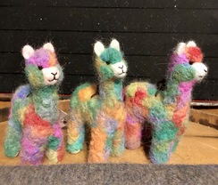 Alpaca Ornament- Needle Felted- Rainbow