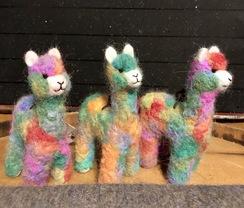 Photo of Alpaca Ornament- Needle Felted- Rainbow