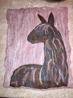 Wall Hanging- Needle Felted- Suri Alpaca