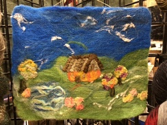 Wall Hanging- Needle Felted Cabin