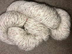 Yarn- Suri Alpaca- White w/ Red Thread