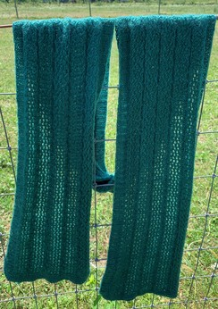 Photo of Cable and Lace Scarf- Forest Green