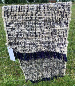 Handwoven Alpaca Rug- White and Purple