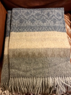Photo of Blanket- Alpaca Throw- Pattern w/ Blue