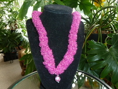 Raspberry Alpaca Lei Necklace