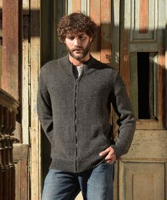 Men's full zip sweater 100% alpaca