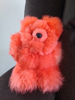 9'' Bright Orange Alpaca Bear Hand-Dyed