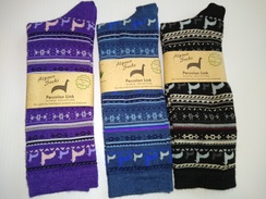 Alpaca Print Crew Socks/Light Weight