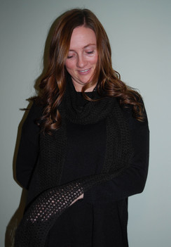 Alpaca Scarf - Black Crocheted